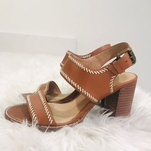 Cognac Leather Madewell Sandal Heels